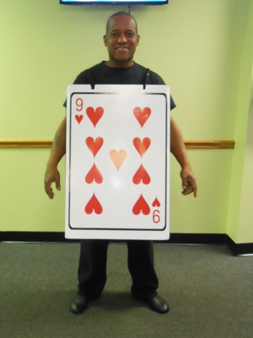Mr Chester in a 9 of Hearts costume